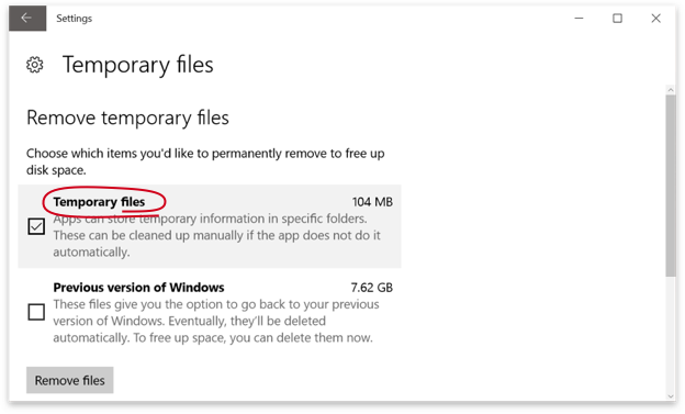 Windows 10 Temporary Files
