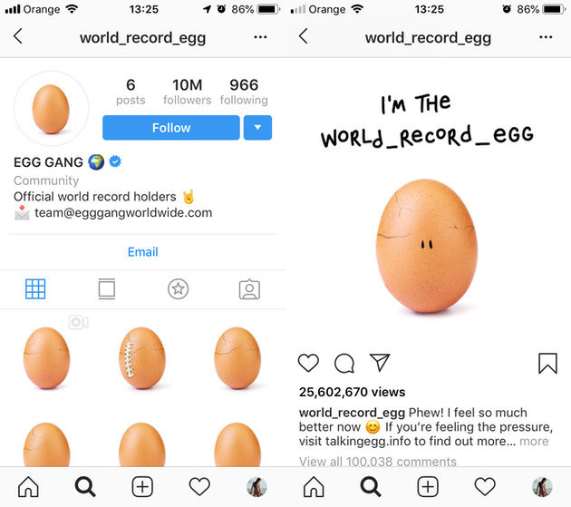 Screenshots of @world_record_egg's Instagram feed